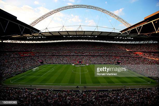 The United States take on Japan in the Women's Football gold medal match on Day 13 of the London 2012 Olympic Games at Wembley Stadium on August 9...