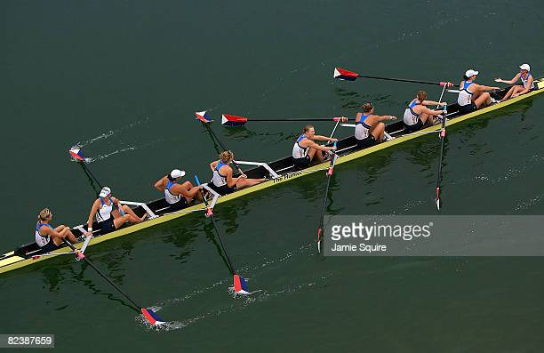 The United States team celebrates a gold medal in the Women's Eight at the Shunyi Olympic RowingCanoeing Park during Day 9 of the Beijing 2008...