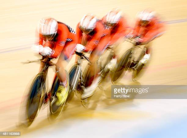 The United States team of Jennifer Valente Ruth Winder Sarah Hammer and Kelly Catlin compete to a silver medals in the women's team pursuit cycling...