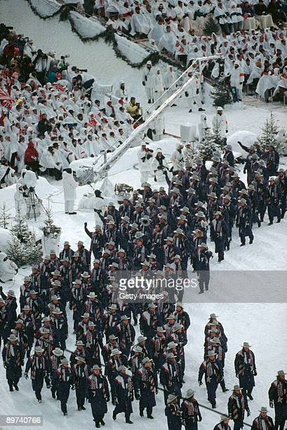 The United States team parading at the opening ceremony of the Winter Olympics at the Lysgardsbakken Stadion Lillehammer Norway 12th February 1994