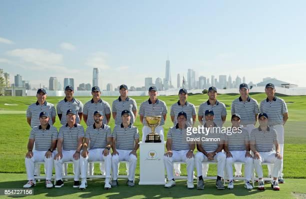 The United States Team pose for the official team photograph Fred Couples Tiger Woods Brooks Koepka Daniel Berger Steve Stricker Kevin Kisner Kevin...