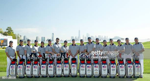 The United States Team pose for the official team photograph Fred Couples Tiger Woods Daniel Berger Kevin Chappell Rickie Fowler Charley Hoffman...