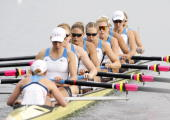 The United States team row on their way to winning the gold medal in the Women's Eight Final at the Shunyi Olympic RowingCanoeing Park during Day 9...