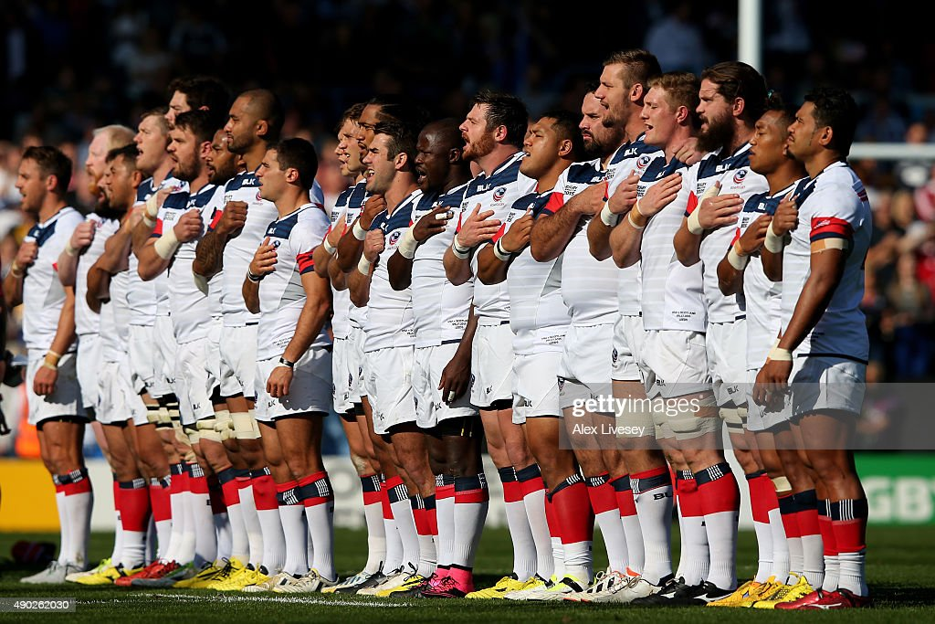 Rugby (ND) United States  City new picture : The United States team sing the national anthem during the 2015 Rugby ...