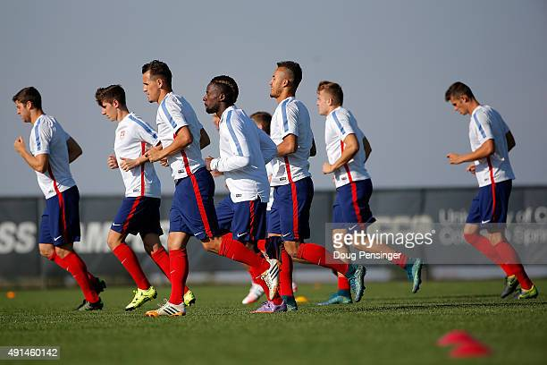 The United States under23 men's national soccer team participates in a training session ahead of the 2015 CONCACAF Olympic Qualifying group play...