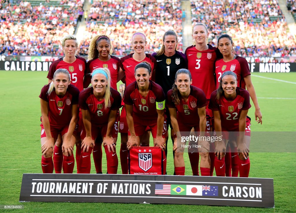 The United States women's national team pose for a photo before their match against Japan during the 2017 Tournament Of Nations at StubHub Center on August 3, 2017 in Carson, California.