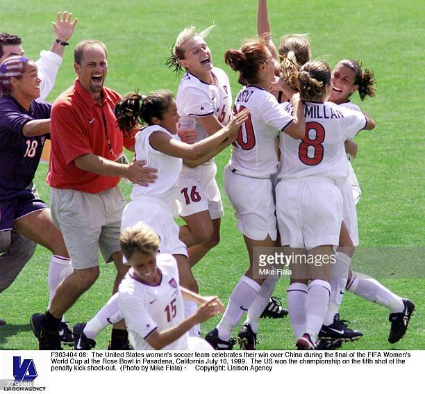 The United States women's soccer team celebrates their win over China during the final of the FIFA Women's World Cup at the Rose Bowl in Pasadena...