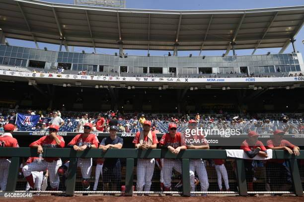 The University of Arizona Wildcats await the start of the game against Coastal Carolina University during Game 3 of the 2016 NCAA Men's College World...