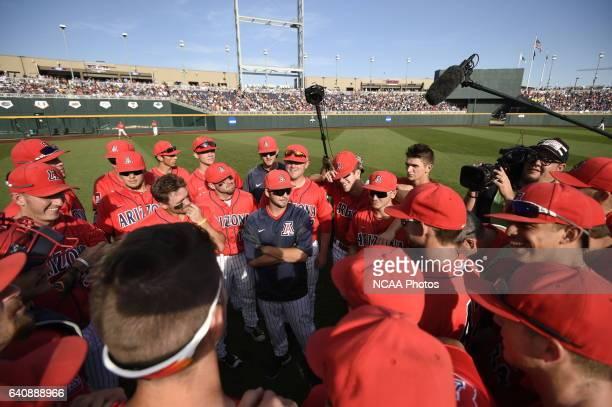 The University of Arizona Wildcats huddle before the start of the game against Coastal Carolina University during the Division I Men's Baseball...
