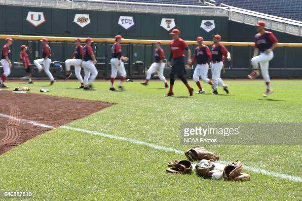 The University of Arizona Wildcats warm up before taking on Coastal Carolina University during Game 3 of the 2016 NCAA Men's College World Series...