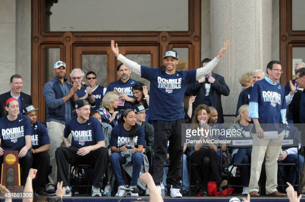 The University of Connecticut's Shabazz Napier pumps up the crowd during a rally to celebrate their national championship April 13 2014 in Hartford...