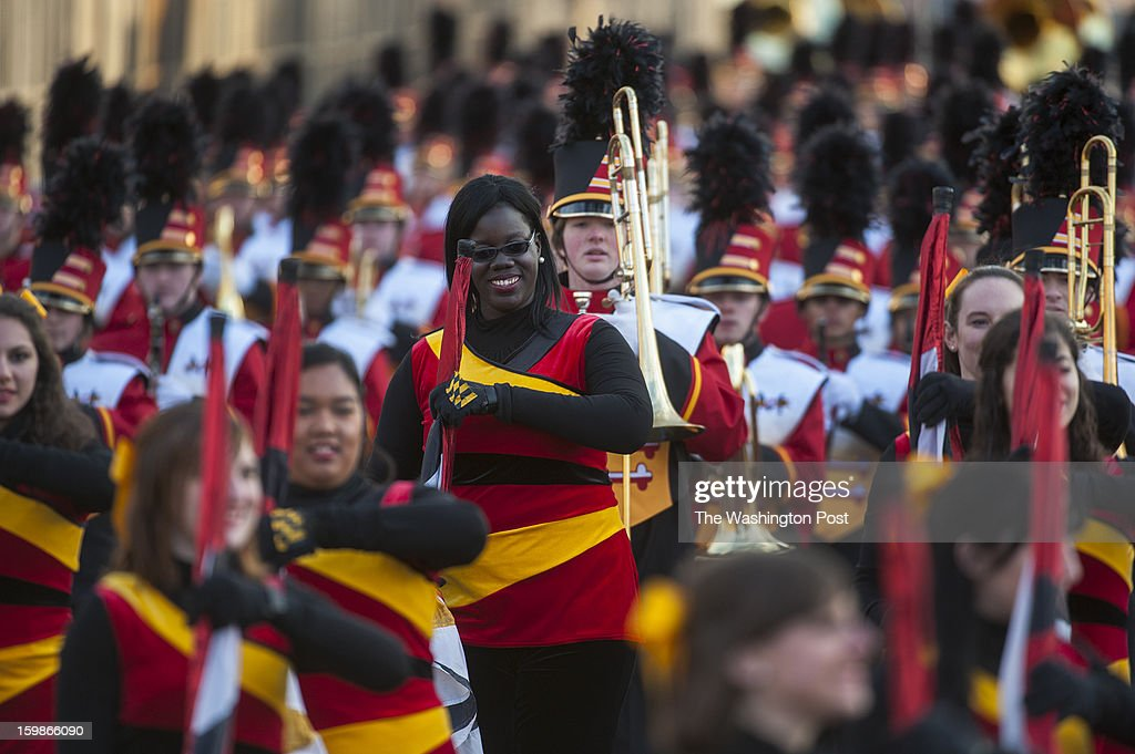 The University of Maryland marching band begins its route along the parade Monday, January 21, 2013 in Washington, DC.
