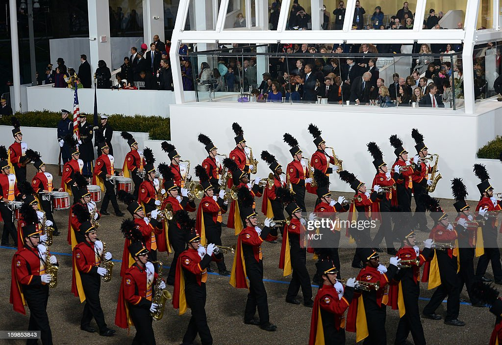 The University of Maryland 'Mighty Sound of Maryland' Marching Band, Maryland, parades past U.S. President Barack Obama during the Inauguration Parade for the second term of President Obama in Washington, D.C., Monday, January 21, 2013.