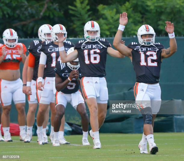 The University of Miami football team has chosen their starting quarterback Malik Rosier for the coming season Rosier warms up with the team during...