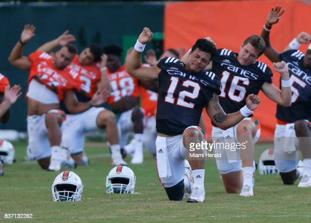 The University of Miami football team has chosen their starting quarterback Malik Rosier for the coming season Rosier stretches with the team during...