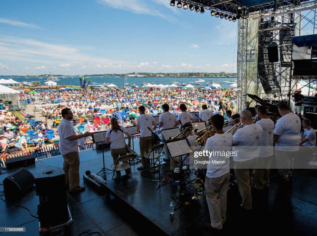 The University of Rhode Island Jazz Festival Big Band performs during the Newport Jazz Festival 2013 at Fort Adams State Park on August 4, 2013 in Newport, Rhode Island.
