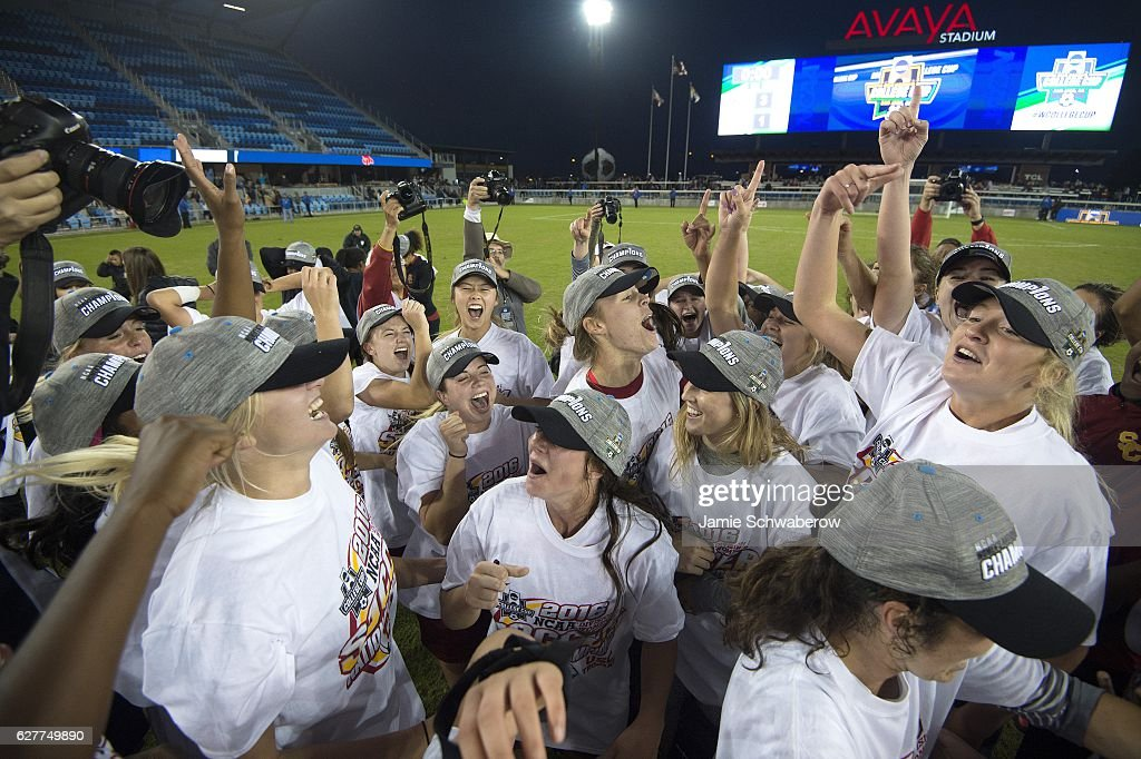The University of Southern California celebrates after defeating West Virginia University during the Division I Women's Soccer Championship held at Avaya Stadium on December 04, 2016 in San Jose, California. USC defeated West Virginia 3-1 for the national title.