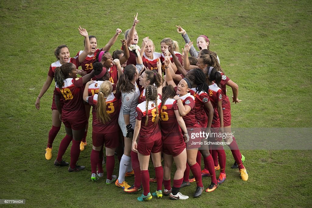 The University of Southern California prepares for their game against West Virginia University during the Division I Women's Soccer Championship held at Avaya Stadium on December 04, 2016 in San Jose, California. USC defeated West Virginia 3-1 for the national title.