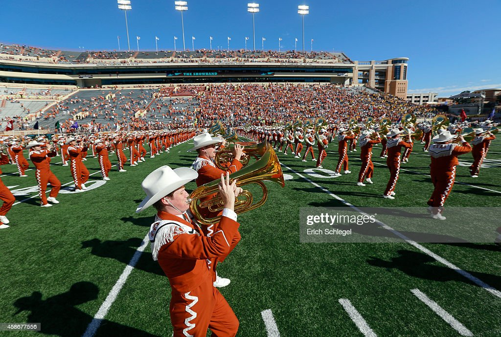The University of Texas Longhorn Band performs before the NCAA Big 12 game between the Texas Longhorns and the West Virginia Mountaineers on November...