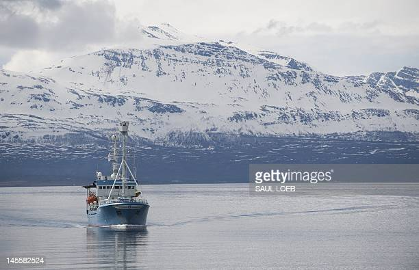 The University of Tromso's research vessel Lance follows US Secretary of State Hillary Clinton and Norway's Minister of Foreign Affairs Jonas Gahr...