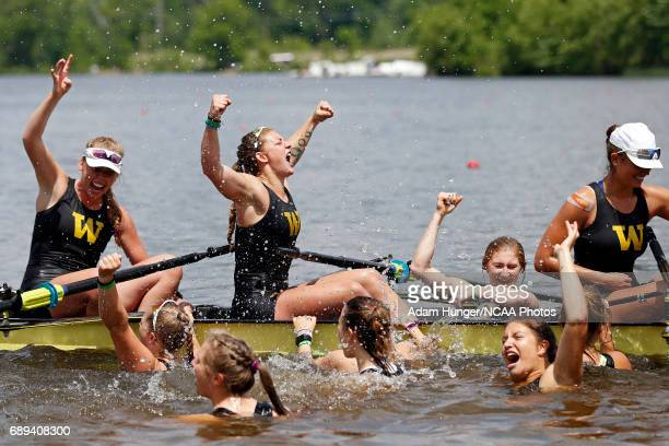 The University of Washington celebrates after winning the Division I Women's Rowing Championship held at Lake Mercer on May 28 2017 in West Windsor...