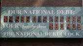 The unofficial 'National Debt Clock' advertises the debt of the United States in midtown September 18 2008 in New York City Morgan Stanley and...