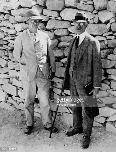 The unofficial opening of the inner chamber of the tomb of Tutankhamun Egypt 1922 Dr A Gardiner and Professor Breasted who were present as experts to...