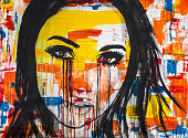 The unseen emotions of her innocence is an acrylic painting, Ink and watercolor on Canvas of a young women crying colors..Sometimes our outward appearances mask what going on inside us.