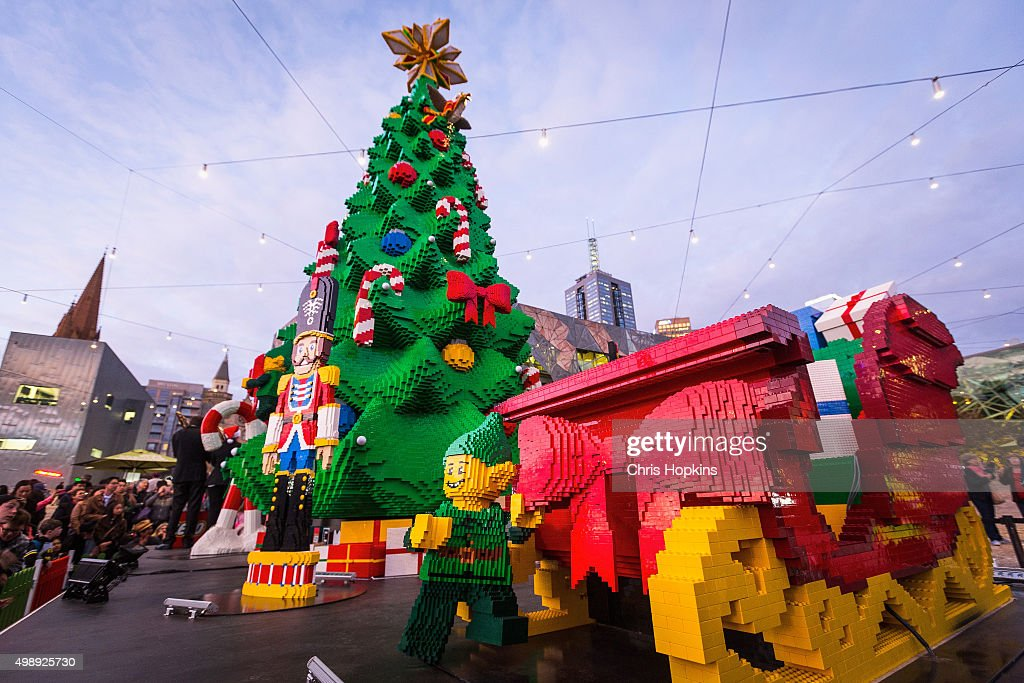 The Unveiling And Lighting Of Lego Christmas Tree At Federation Square On November 27