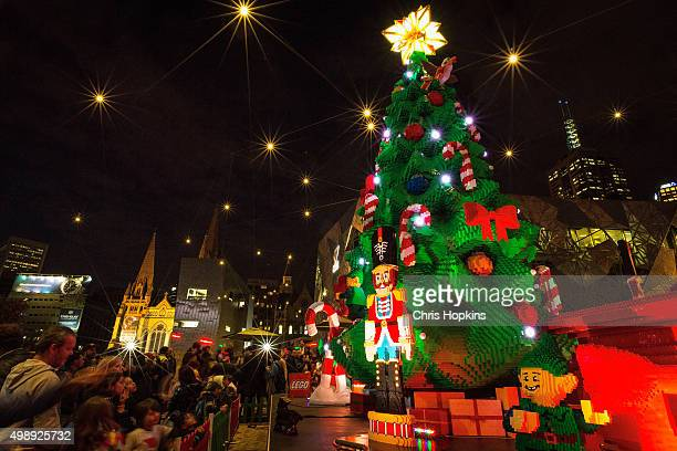 The unveiling and lighting of the Lego Christmas tree at Federation Square on November 27 2015 in Melbourne Australia Over half a million Lego bricks...