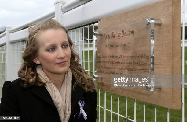 The unveiling of a Plaque for Emily Davison at Tattenham Corner at Epsom Downs Racecourse
