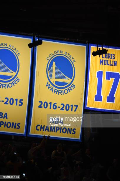The unveiling of the 2017 NBA Champions banner during the Golden State Warriors NBA Championship ring ceremony on October 17 2017 at ORACLE Arena in...
