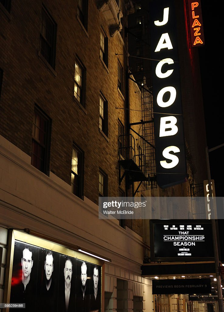 The unveiling of the Broadway Marquee for 'That Championship Season' starring Brian Coc Jim Gaffigan Chris Noth Jason Patric Kiefer Sutherland...