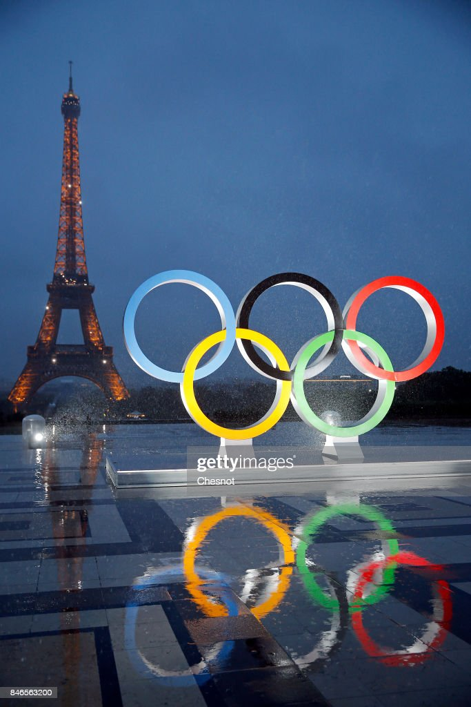 Paris City Hall Unveils Olympic Rings At Le Trocadero In Paris