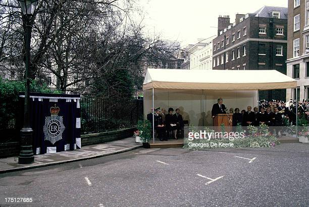 The unveiling of WPC Yvonne Fletcher's memorial who was shot dead on April 17 1984 by terrorists during the Libyan Embassy Siege in London on...