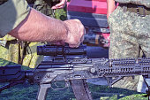 The upgraded Kalashnikov AK47 assault rifle with tactical accessories and optical sight
