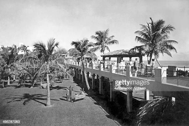 The upper deck of the garden promenade at the fashionable Roney Plaza Hotel in Miami Beach Miami Beach Florida circa 1927