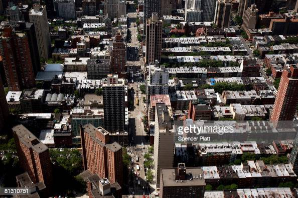 The Upper East Side of Manhattan is shown where a crane collapsed at 91st Street and 1st Avenue May 30 2008 in New York City The crane collapsed on...