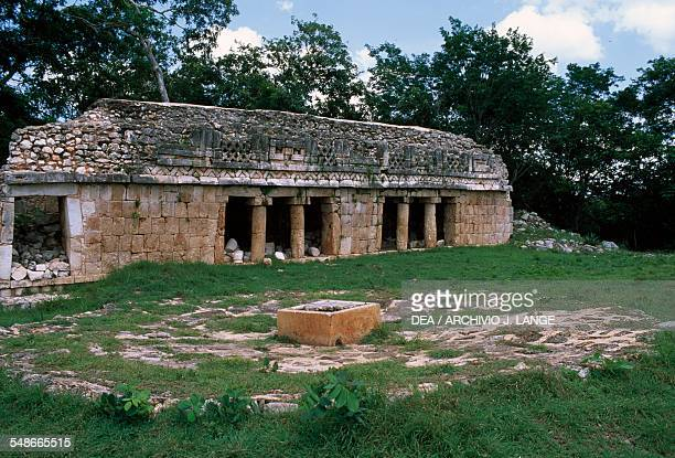 The upper floor of the Palacio with the reservoir for rainwater Labna Puuc Yucatan Mexico Mayan civilisation 7th10th century