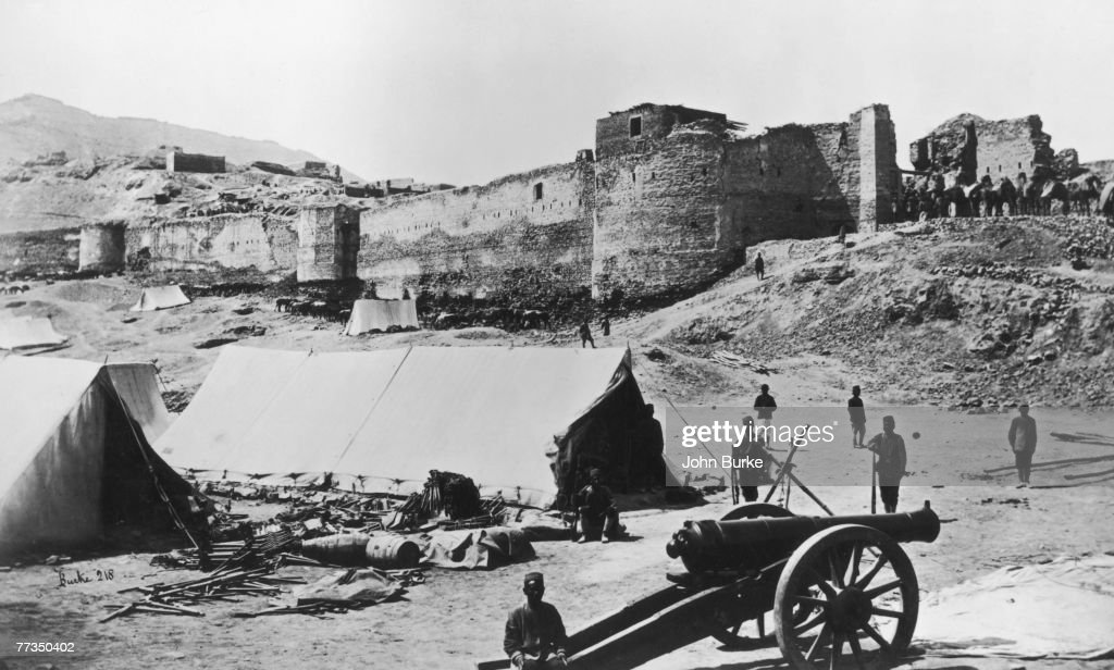 The upper part of the Bala Hissar an ancient fortress in Kabul Afghanistan as seen from the gateway above the British Residency during the Second...