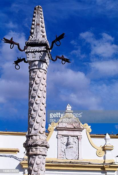 The upper section of the infamous pelourinho marble in Manueline style Santa Clara Largo Elvas Portugal 16th century