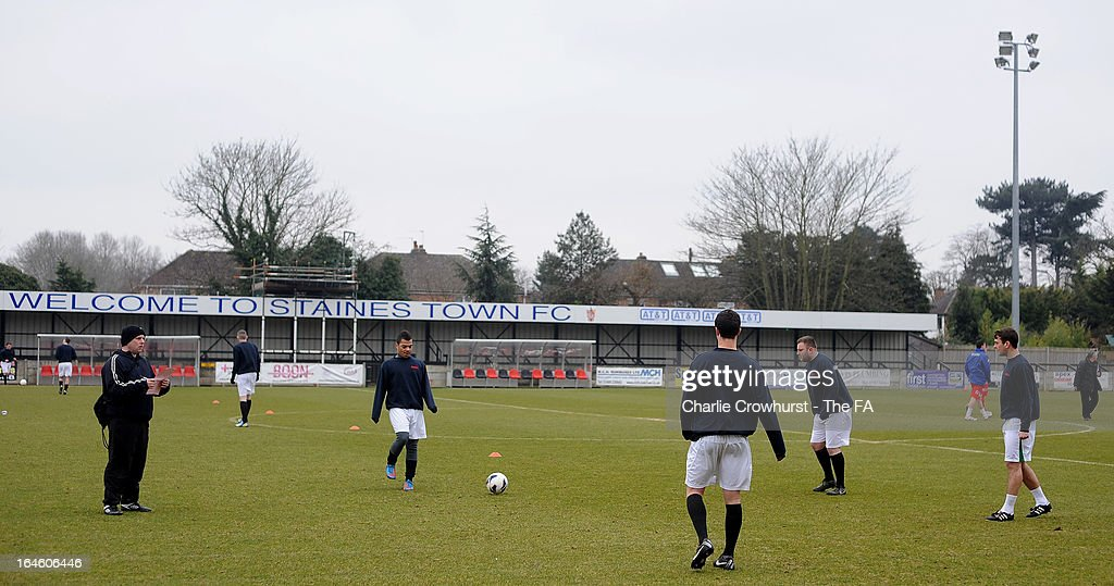 The Upshire team warm up before the FA Sunday Cup Semi Final match between Barnes Albion and Upshire at Wheatsheaf Park on March 24, 2013 in Staines, England,