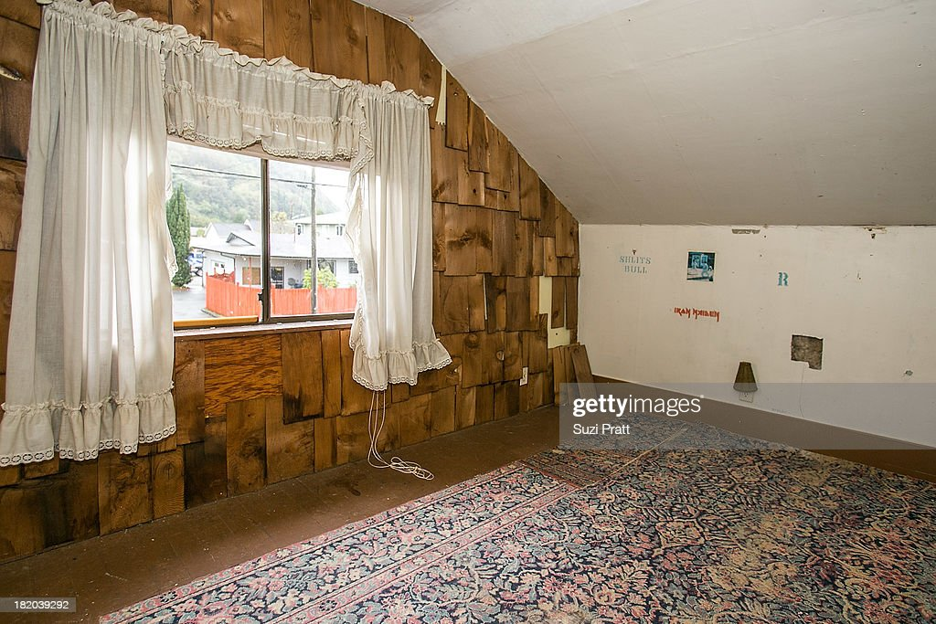 The upstairs personal room and artwork that once belonged to Kurt Cobain on September 27, 2013 in Aberdeen, Washington.