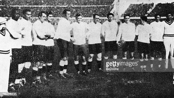 The Uraguayan football team winners of the first World Cup competition held in Uraguay 1930