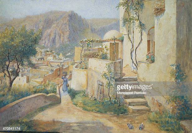 'The Urban Centre in Capri from the Street to Villa Jaris by Arthur Glennie 19th Century watercolour on canvas Private collection Whole artwork view...