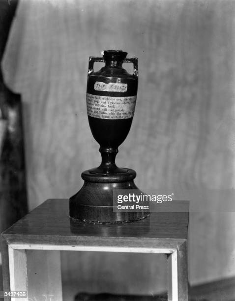 The urn containing the coveted 'ashes' contested for by England and Australia in the timehonoured cricket series The trophy is situated in the Long...