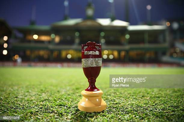 The urn is seen on the SCG after play during day three of the Fifth Ashes Test match between Australia and England at Sydney Cricket Ground on...