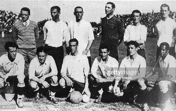 The Uruguayan football team winner of the 1926 South American Championship in Chile from L to R Santos Urdinaran H Scarone Rene Borjas Hector Castro...