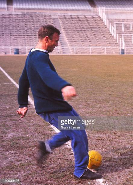 The Uruguayan soccer player of 'Real Madrid' Emilio Santamaria training in the stadium 'Santiago Bernabeu' Madrid Spain