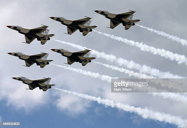 The US Air Force Thunderbirds are seen rehearsing their persision flying routine September 18 2015 in Forestville Maryland This weekend the...